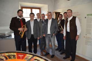 Die Bläser der Stadtmusik Landeck mit Kulturref. Jakob Egg, Christoph Carotta, Christian Rudig und Nikolaus Köll.