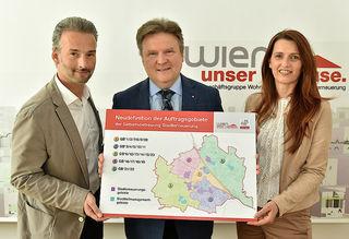 Bernhard Jarolim, Michael Ludwig und Petra Engelmann präsentierten die neue Struktur der Gebietsbetreuung.