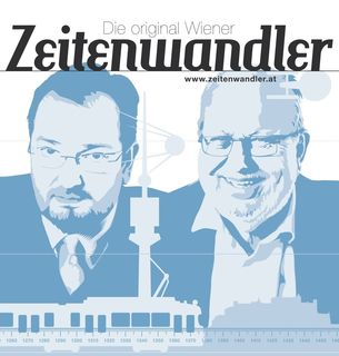 Die »Original Wiener Zeitenwandler« Martin Haidinger und Karl Vocelka, Graphik: Roman Gerhardt, Foto/© www.peterberger.at
