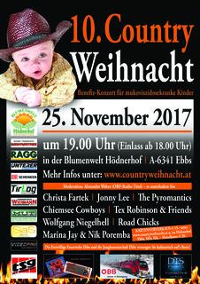Am 25. November findet in der Blumenwelt Hödnerhof in Ebbs die 10. Countryweihnacht statt.