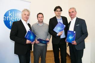 Ingmar Hörbarth, Geschäftsführer des Klima- und Energiefonds, Michael Stadler, Energy2020+, Georg Günsberg, Autor des Faktencheck Energiewende und Peter Püspök, Präsident des Verband Erneuerbare Energie Österreich (v.l.n.r.).