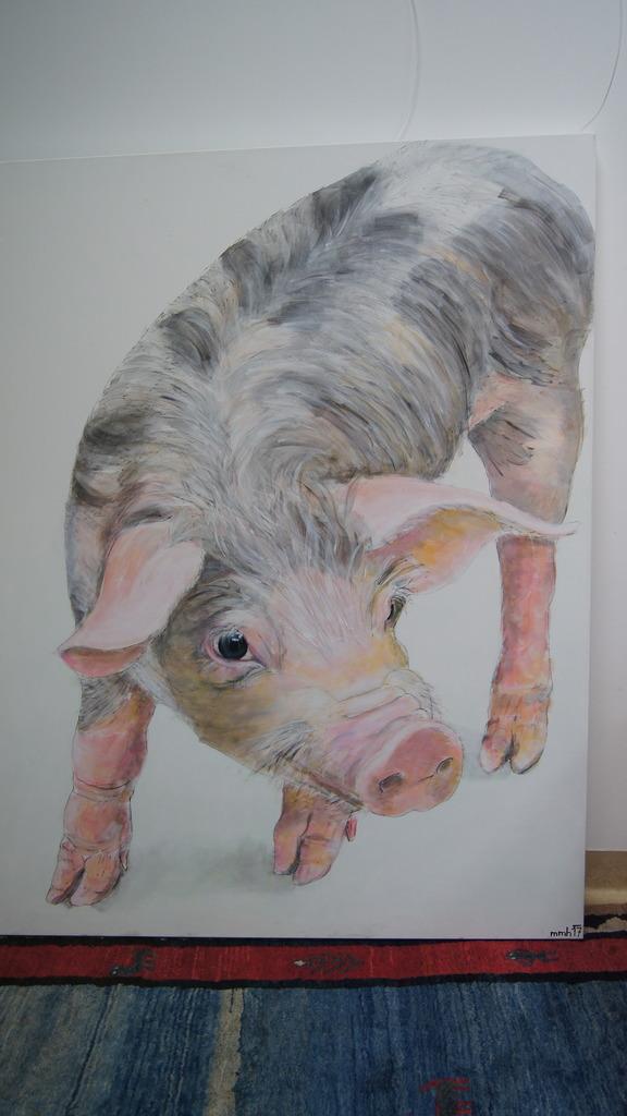 """Schweindl"" Marlies Maria Haas Tusche/Acryl auf Leinwand"