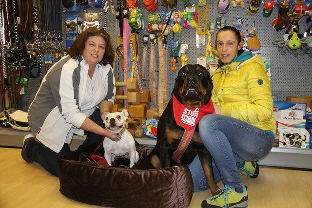 Sammeln Spenden für Ungarn: Florentine Wagner und Barbara Leichtfried mit ihren Hunden Duke und Bedinka.