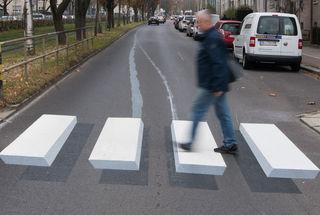Oberösterreichs erster 3D-Zebrastreifen.