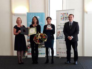 Marga Pröhl (EIPA-Generaldirektorin), Open.Heart-Projektleiterin Manuela Geimer, Kinder- und Jugendanwältin Andrea Holz-Dahrenstaedt, Norbert Kis (EIPA, Board of Governors)