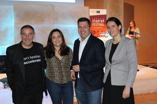 Juror und Startup-Guru Tal Catran, Moderatorin Cathy White, Marcus Hofer (GF Standortagentur Tirol), WK-Vizepräs. Barbara Thaler