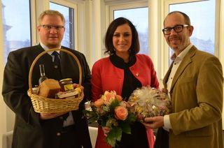 Besuchten Nationalratspräsidentin Elisabeth Köstinger: Altlengbachs Bürgermeister Michael Göschelbauer und Vize Daniel Kosak.
