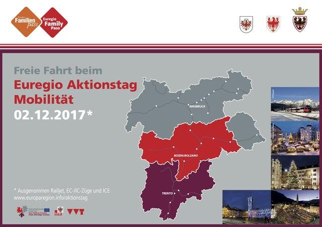 """Christkindlmärkte in allen drei Landesteilen der Euregio (siehe Einzeichnungen) laden am """"Euregio Mobilitätstag"""" zu gemeinsamen Unternehmungen ein."""