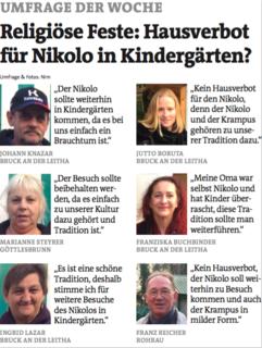 """Umfrage der Woche: """"Religiöse Feste: Hausverbot für Nikolo in Kindergärten?"""""""