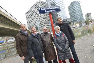 Bei der Enthüllung: Andreas Mailath-Pokorny, Ron Schmutzer, Nicolas Pawloff, Birgit Meinhard-Schiebel und Markus Figl (v.l.).