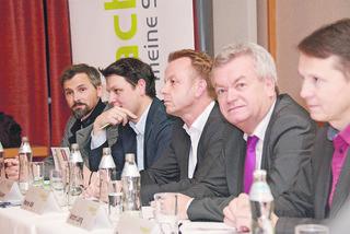 Die Verkehrsplaner Markus Frewein, Markus Hauser, Bgm. Mario Abl, LR Anton Lang, Bernhard Breid (Land Steiermark) v.l.