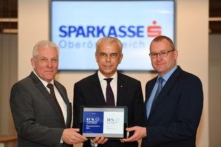 Geschäftsführer s Real Österreich Michael Pisecky, Vorstandsdirektor Sparkasse OÖ Herbert Walzhofer, Geschäftsführer s Real Oberösterreich Ernst Mittermair (v. li.)