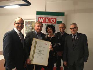 Vlnr: Andreas Schlemmer, WKO Weiz; Wolfgang Enthaler, Romana Enthaler, Heinz Schwindhackl, Obmann Tourismus Weiz; Heinz Habe.