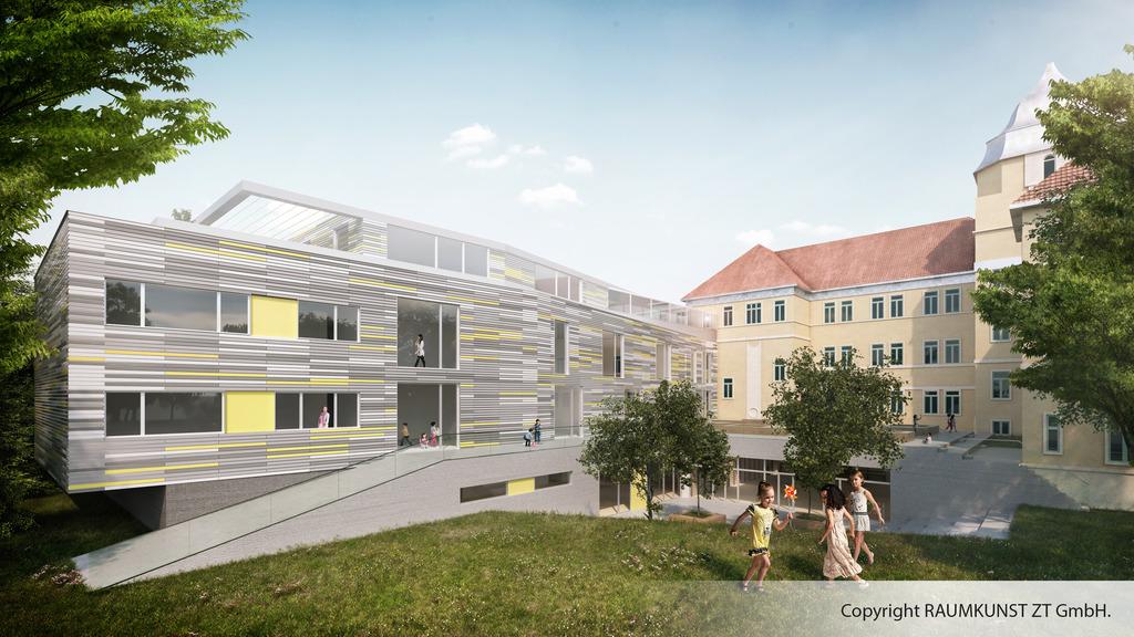 Blick in die Zukunft: Das Rendering zeigt, wie die Volksschule Korbgasse bald aussehen soll.
