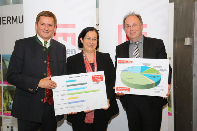 Budgetpräsentation der Stadt Leoben: Bürgermeister Kurt Wallner, Finanzdirektorin Andrea Pichler, Finanzreferent Willibald Mautner (v.l.).