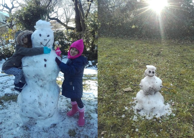 Wiener Neustadt´s Wintersonne macht dem Schneemann zu schaffen. Bild: Anna und Marie