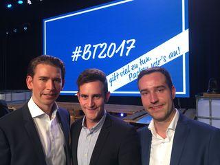Sebastian Kurz, Lukas Schnitzer, und der neue Bundesobmann Stefan Schnöll (v.l.).