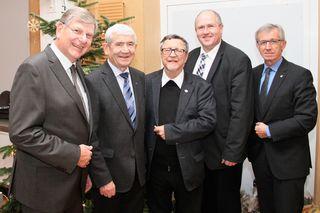 Obmann Herbert Eidelpes, Präs. Edmund Freibauer, Pater Markus, Bgm. Alfred Pohl und GR Josef Schimmer.