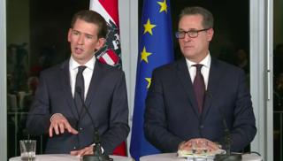 Sebastian Kurz und HC Strache stellen die neue Regierung vor.