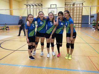 Die Mädchen der U13: Hilal Korkmaz, Daniela Holzmann, Alexandra Obernberger, Sila Aygün und Ena Homovic (v. l. n. r.).