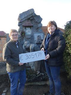 Die beiden Organisatorinnen vor dem zu renovierenden Gedenkstein.