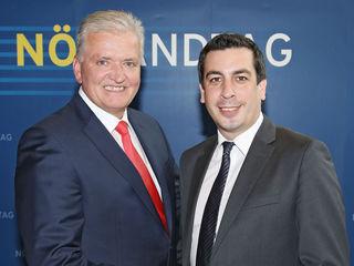 Landesparteivorsitzender LR Franz Schnabl (li) mit Landtagsabgeordneten Dr. Günther Sidl