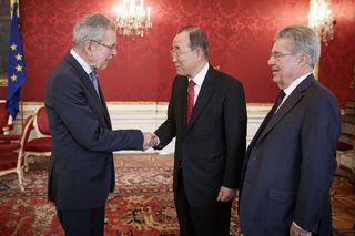 Auch Bundespräsident Alexander Van der Bellen sprach mit Ban Ki-moon und Heinz Fischer über das Zentrum.