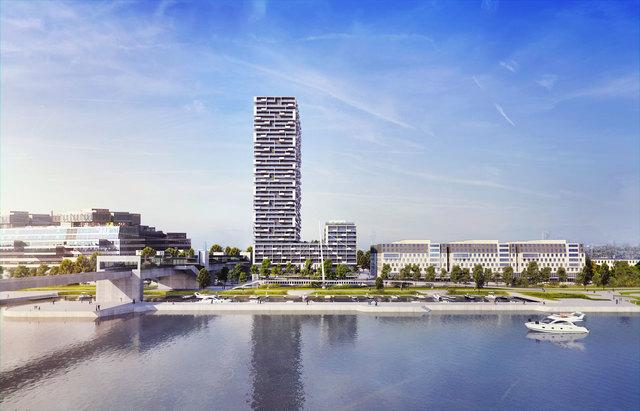 So zeigt sich der höchste Wohnturm der Leopoldstadt, der Marina Tower, vom gegenüberliegenden Flussufer.