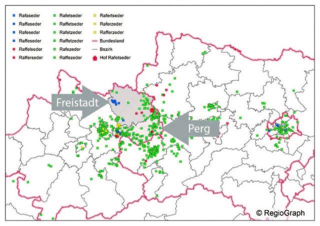 Rafetseder- Verteilung in OÖ, NÖ, Wien. Name Rafetseder kommt aus Königswiesen, Grenze zu St. Georgen am Walde.