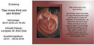"""Einladung zur Ausstellungseröffnung am 26. Jänner 2018 mit dem Werk """"Das innere Kind und sein Kritiker"""" von Regina Pichler"""