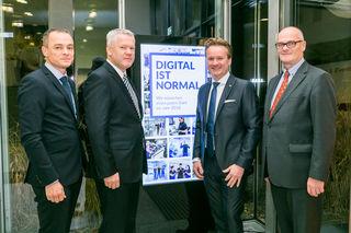 Die steirische Industriellenvereinigung lud zum Neujahrscocktail (v.l.): Gernot Pagger (IV-Geschäftsführer) mit Franz Kainersdorfer (IV-Vizepräsident), Georg Knill (Präsident) sowie Benedikt Bittmann (Vizepräsident WKO Stmk.)