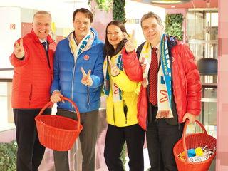 v.l.n.r.: Der Spitzenkandidat der SPÖ NÖ, LR Franz Schnabl, Stadtparteivorsitzender Stadtrat Mag. Gerhard Riegler, Amstettens Spitzenkandidatin Bürgermeisterin Mag.a. Kerstin Suchan-Mayr und Kommunalmanager Siegfried Köhsler unterwegs im CCA Amstetten.