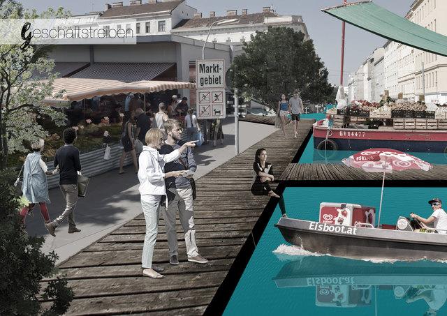 Charmante Idee: Wenn aus der Gerhardusgasse ein Kanal wird, könnten schwimmende Händler das Angebot am Hannovermarkt ergänzen.