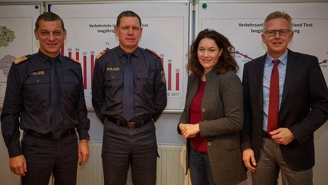 Landespolizeidirektor Helmut Tomac, Obst Markus Widmann,Ingrid Felipe, Bernhard Knapp