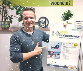 Kevin Lagler blickt voller Vorfreude auf den WOCHE-Familienschneetag ...