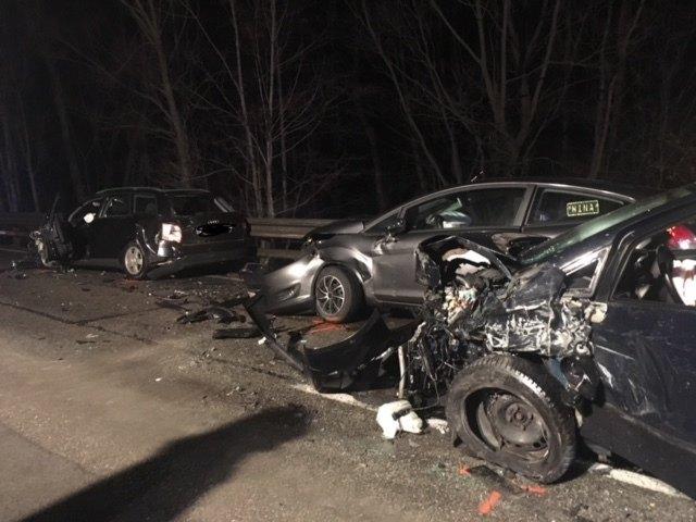 Drei der fünf am Unfall beteiligten Fahrzeuge