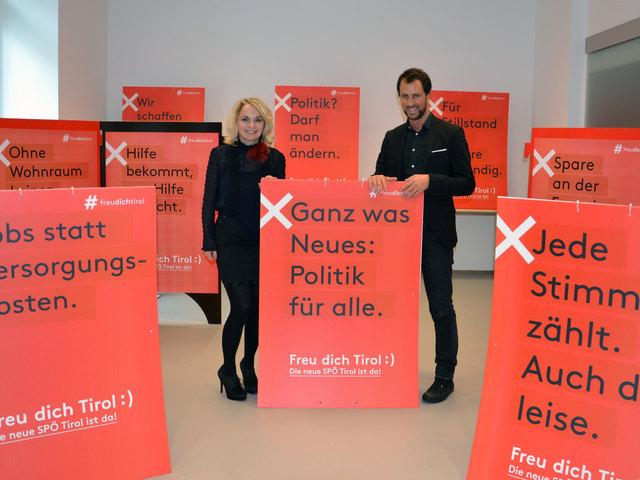 Stehen vor, hinter und mitten im Programm der neuen SPÖ Tirol: Vorsitzende Elisabeth Blanik und ihr Stellvertreter Georg Dornauer.
