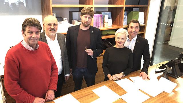 Abkommen: Dornauer (SPÖ), Kern (NEOS), Fiesel (Grüne), Klein (Family) und Malaun (ÖVP)
