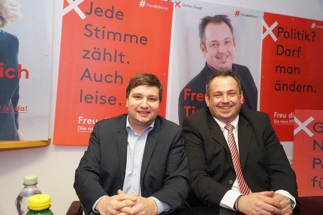 Benedikt Lentsch und Bezirks-Spitzenkandidat Stefan Zaggl (v.l.),