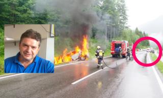 Links das brennende Auto von Josef Strassmair, rechts im roten Kreis das Fahrzeug von Johann Ebner. Der Niederösterreicher ist im kleinen Bild zu sehen.