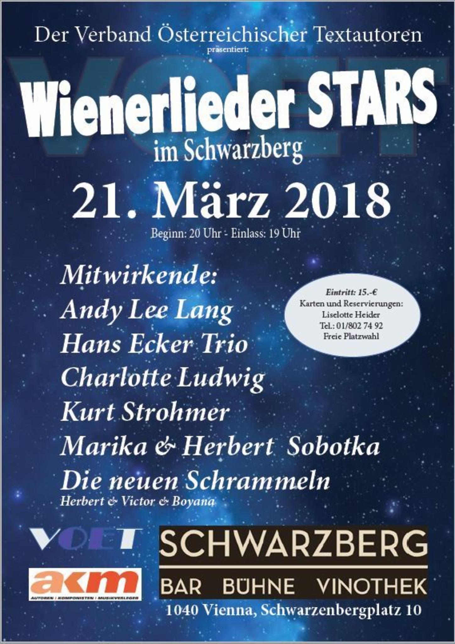 Wienerlieder Stars Im Schwarzberg Mit Stargast Andy Lee Lang Mariahilf