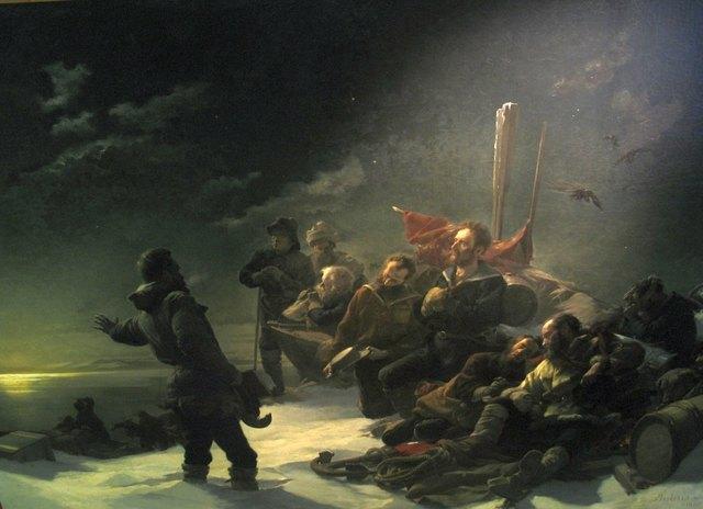 """Das Bild """"Nie zurück!"""" malte Julius Payer 1892 in der Gusshausstraße 25. Es hängt heute im Heeresgeschichtlichen Museum."""