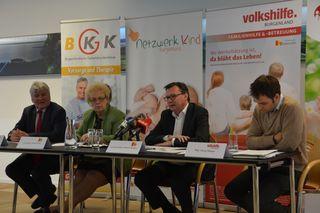 Verkündeten die Fortsetzung des Projekts: BGKK-Obmann Hartwig Roth, LR Verena Dunst, LR Norbert Darabos und Volkshilfe-GF Georg Stenger