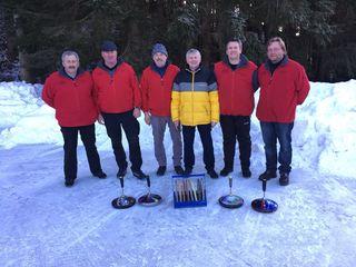 Wundschuhs ÖKB-Landesmeister Günther Rath, Ernst Steinfeld, Heribert Karner, Heinz Strommer, Josef Roßmann und Sportreferent Fritz Martschitsch.(4.v.l.).