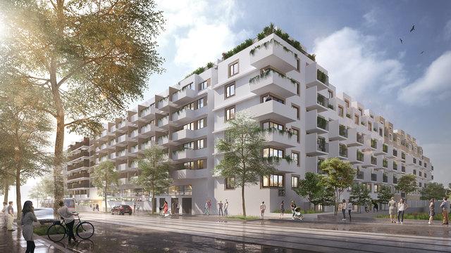 Viel Grün soll der neue Wohnbau in der Geiselbergstraße 26–32 haben.