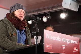 Fiona Herzog, Vorsitzende Sozialistische Jugend Wien, erhielt mehrmals Zwischenapplaus für ihre Rede.
