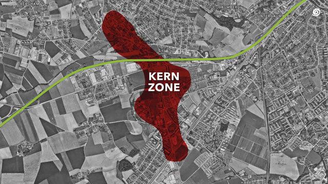 Bis 2030 soll in Leonding ein neues Stadtzentrum entstehen (rot). Die Westbahn (grün) soll dafür eingehaust werden.