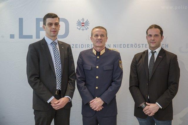 Oberstleutnant Daniel Lichtenegger B.A. M.A., Landespolizeidirektor-Stellvertreter Generalmajor Franz Popp B.A. M.A., Oberstleutnant Michael Renghofer B.A.