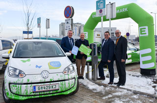 Umweltlandesrat A. Lang, Vorstandssprecher Ch. Purrer, Energie-Steiermark-Vorstandsdirektor M. Graf, K. Edelsbrunner (v. l.)