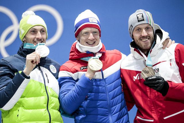 10.02.2018, Pyeongchang, Korea (KOR): Jakov Fak (SLO), Johannes Thingnes Boe (NOR), Dominik Landertinger (AUT), (l-r) - XXIII. Olympic Winter Games Pyeongchang 2018, biathlon, medals, Pyeongchang (KOR). www.nordicfocus.com. © Modica/NordicFocus. Every downloaded picture is fee-liable.